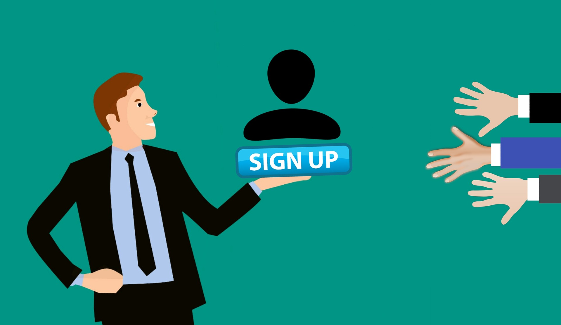 infographic business man with sign up icon on the hand and diverse arms which are trying to reach it