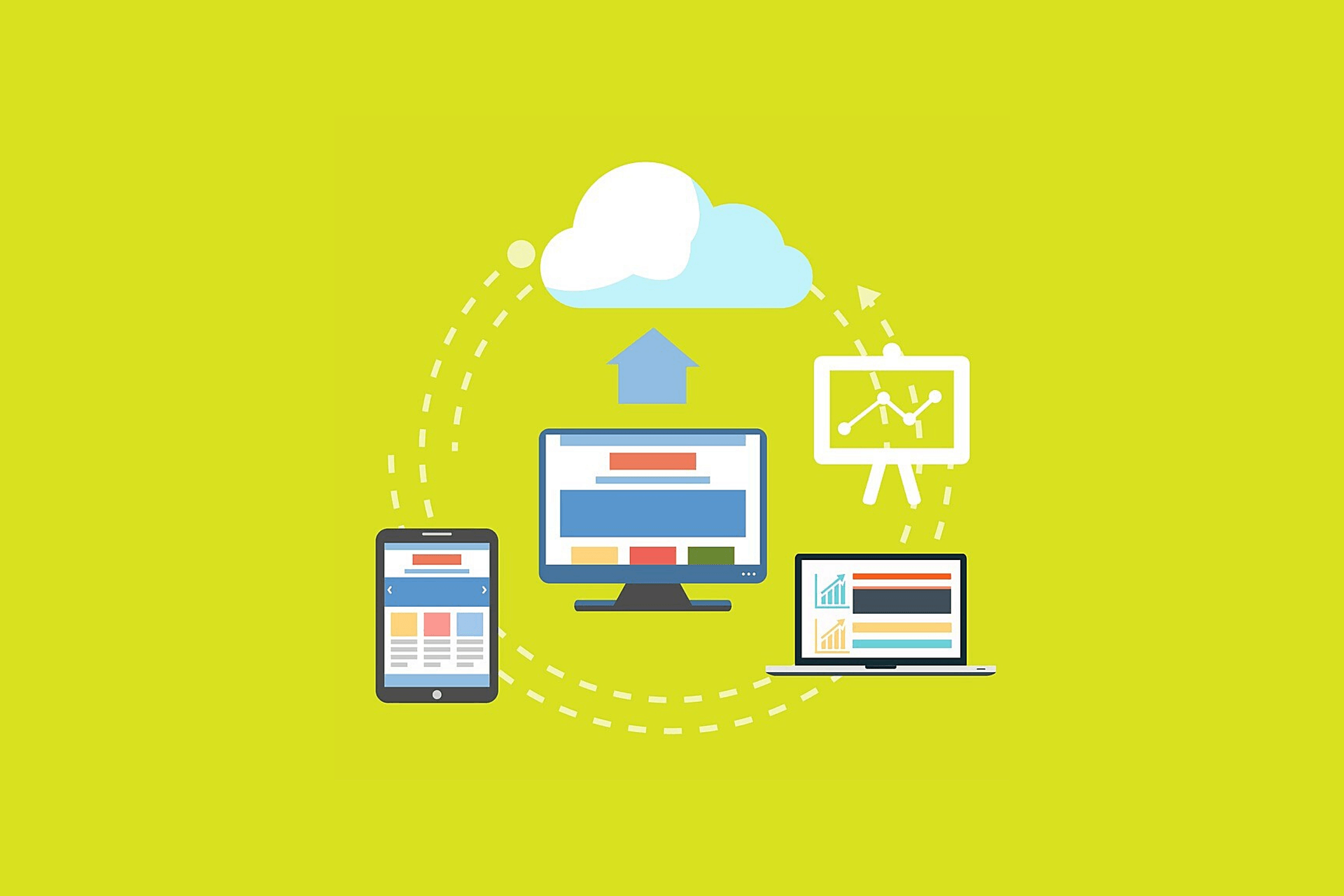 infographic computer and tablet mockups where data is transferred to the cloud