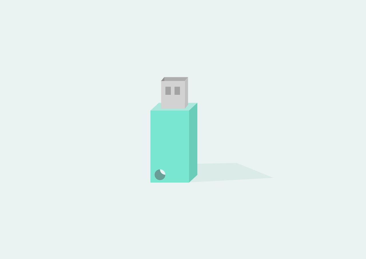 green usb drive positioned vertical