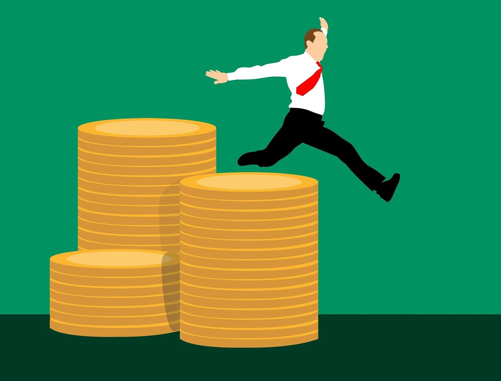infographic of a man jumping from a stack of coins