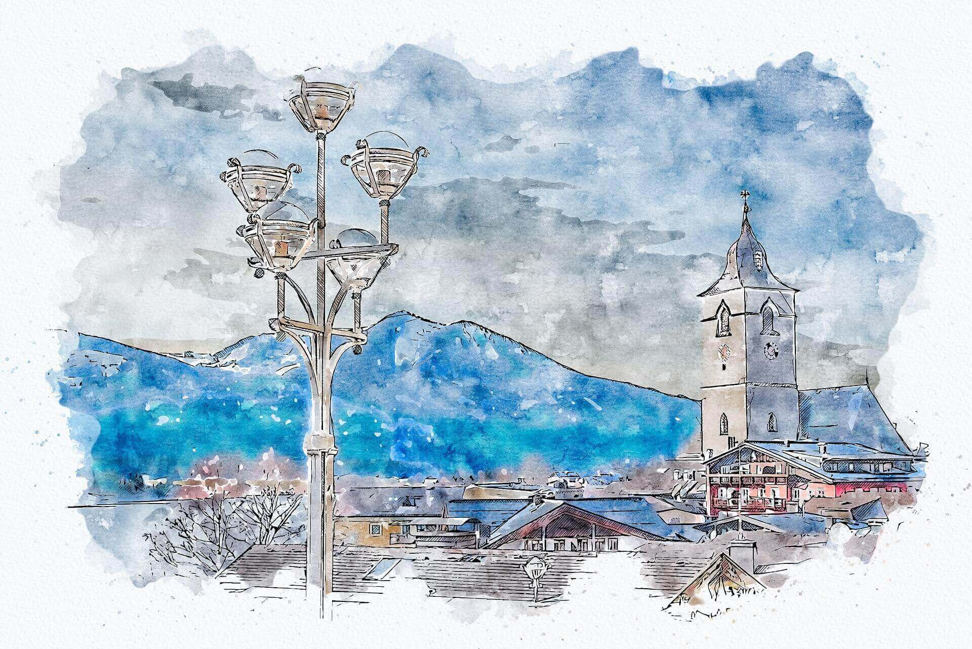painting of a town with mountains in the background