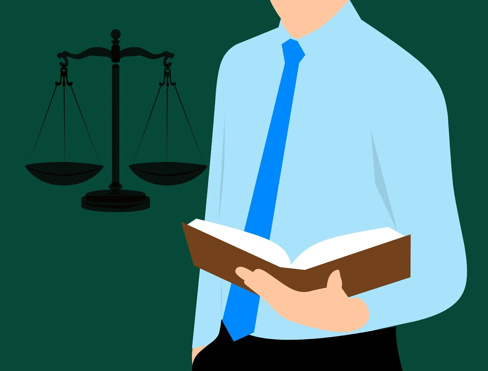 infographic lawyer with book in his hands