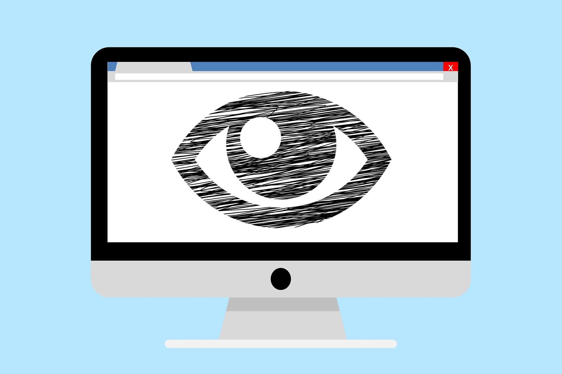 desktop mockup with eye