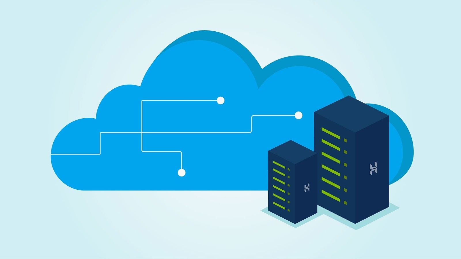 cloud infographic with data center
