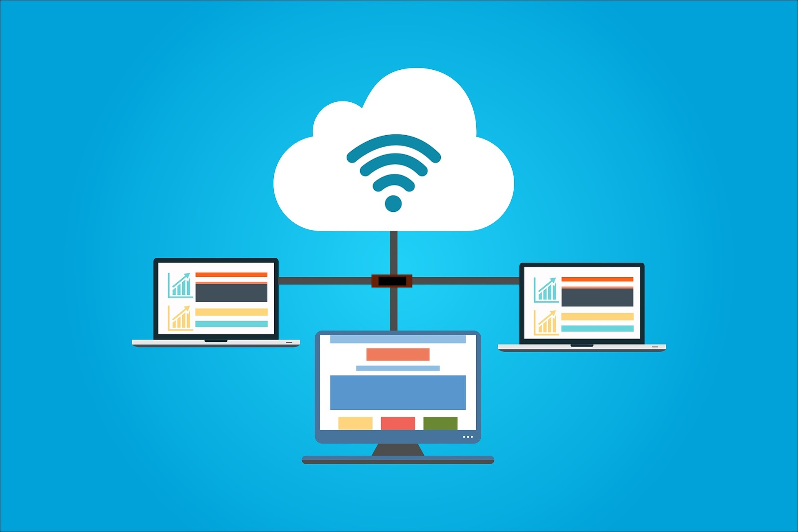 Infographic of cloud storage and 3 laptops connected to each other