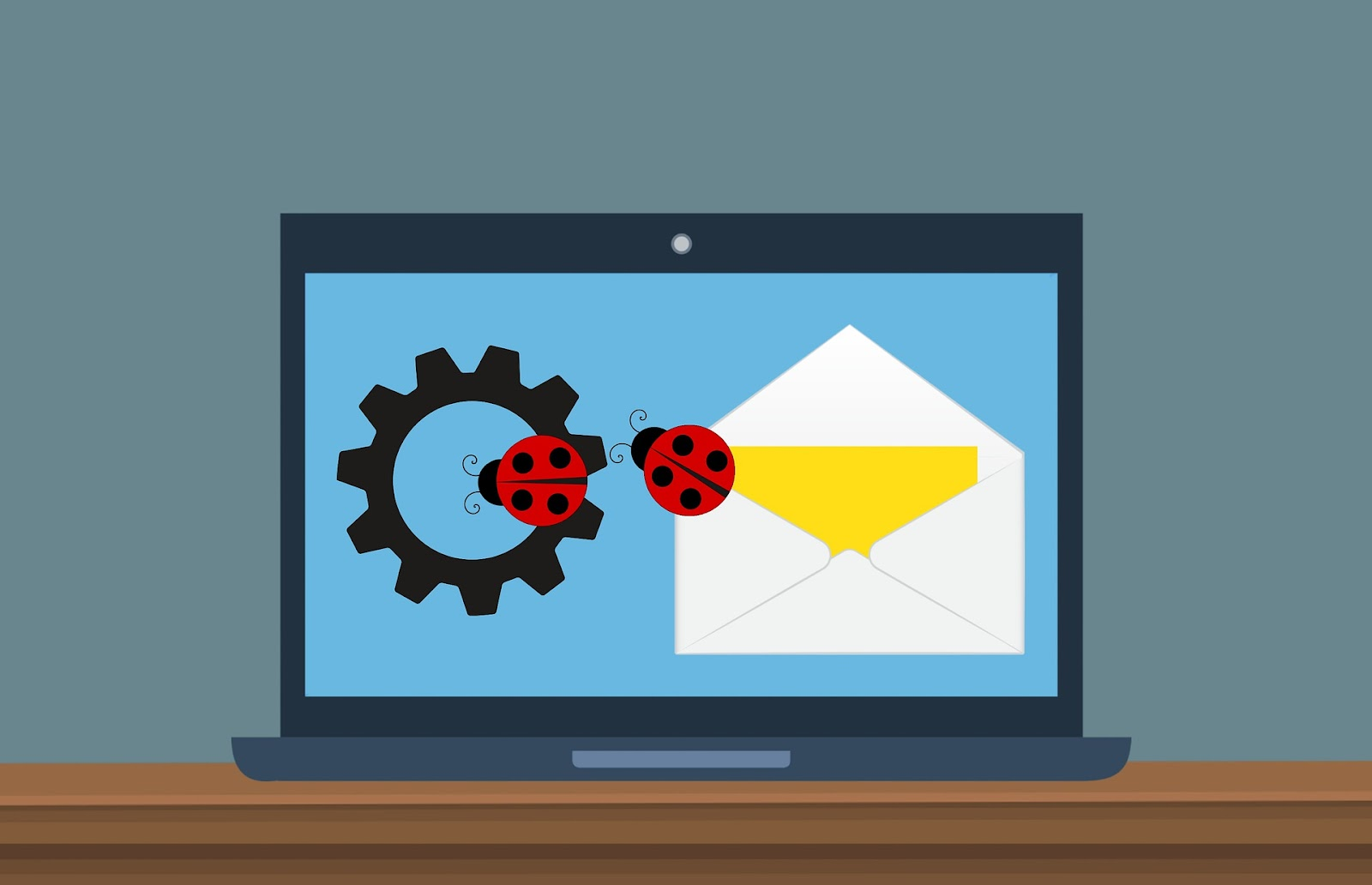 ladybugs email and gear on computer mockup infographic