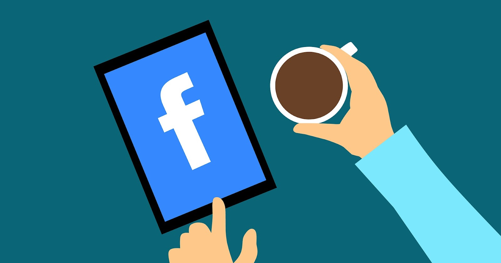 infographic coffee and mobile phone with facebook logo