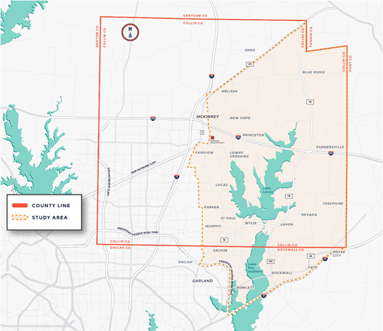 Map showing the Future Mobility Study Area in Collin County, TX