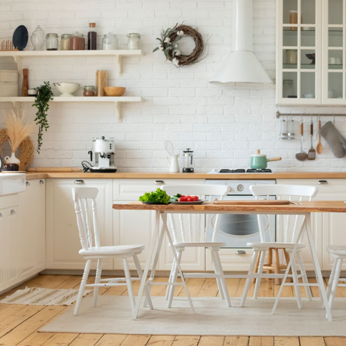 A simple and beautiful kitchen area.