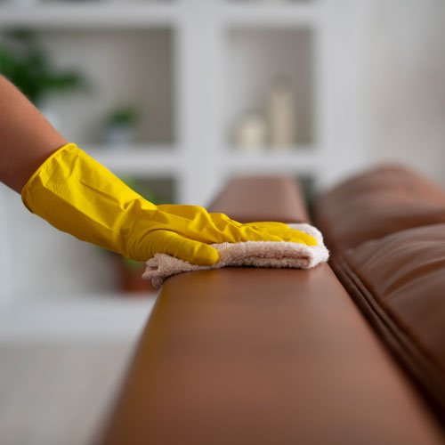 A detailed clean on a leather couch.