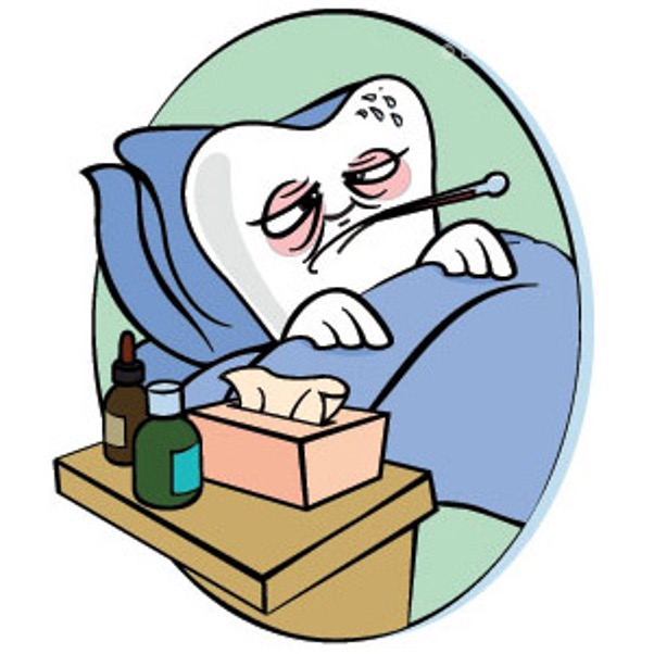 Tooth laying in bed sick