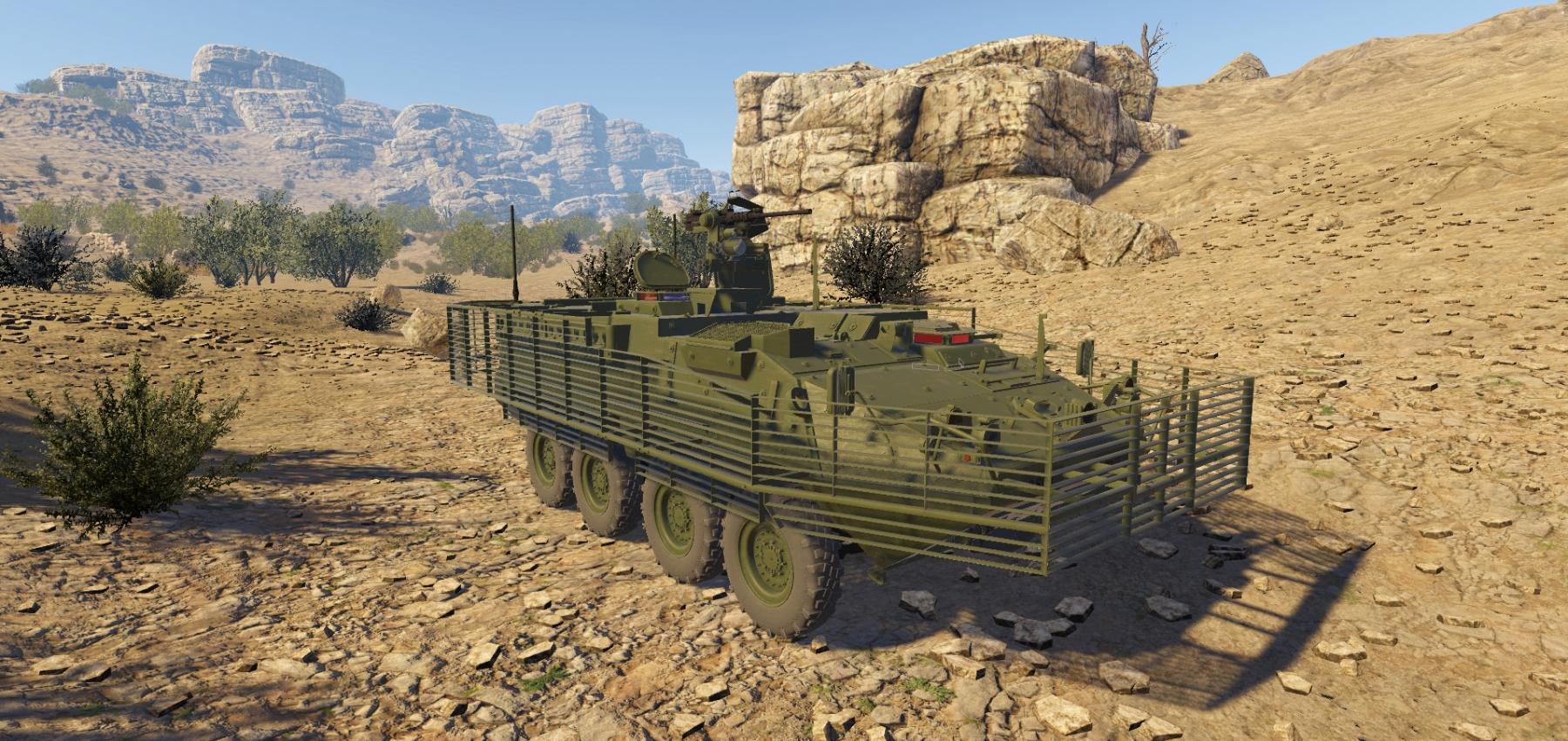 A tank in the desert shown in Virtual Reality using Xplorer