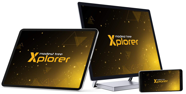 Smartphone, tablet and PC monitor showing Xplorer logo indicating multiplatform capabilites