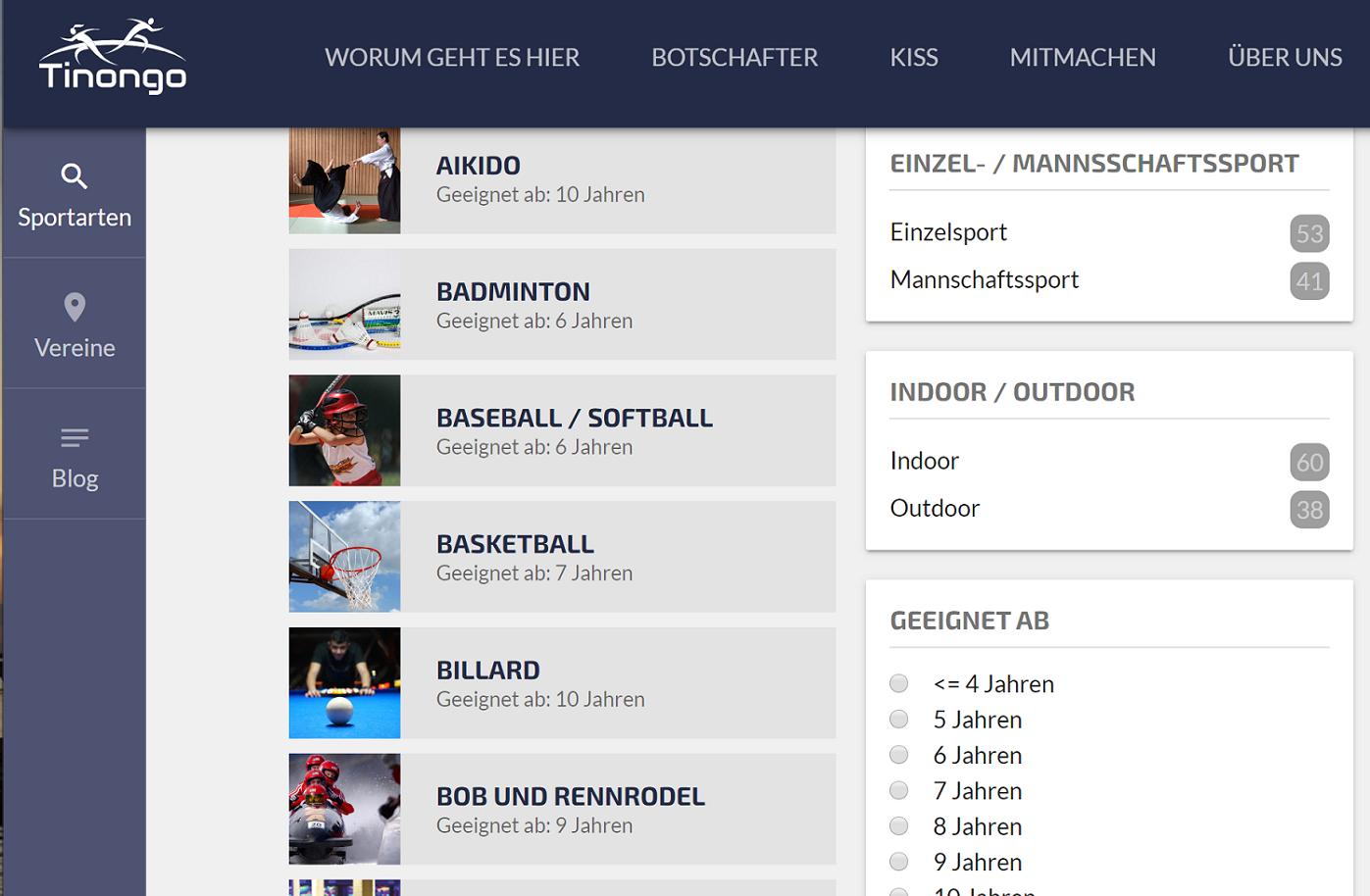 Durch bestimmte Filtereinstellungen können passende Sportarten gesucht werden.