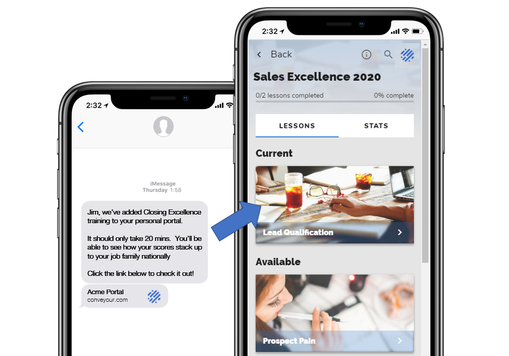 ConveYour Direct Sales Text notification sending the recipient to an online course