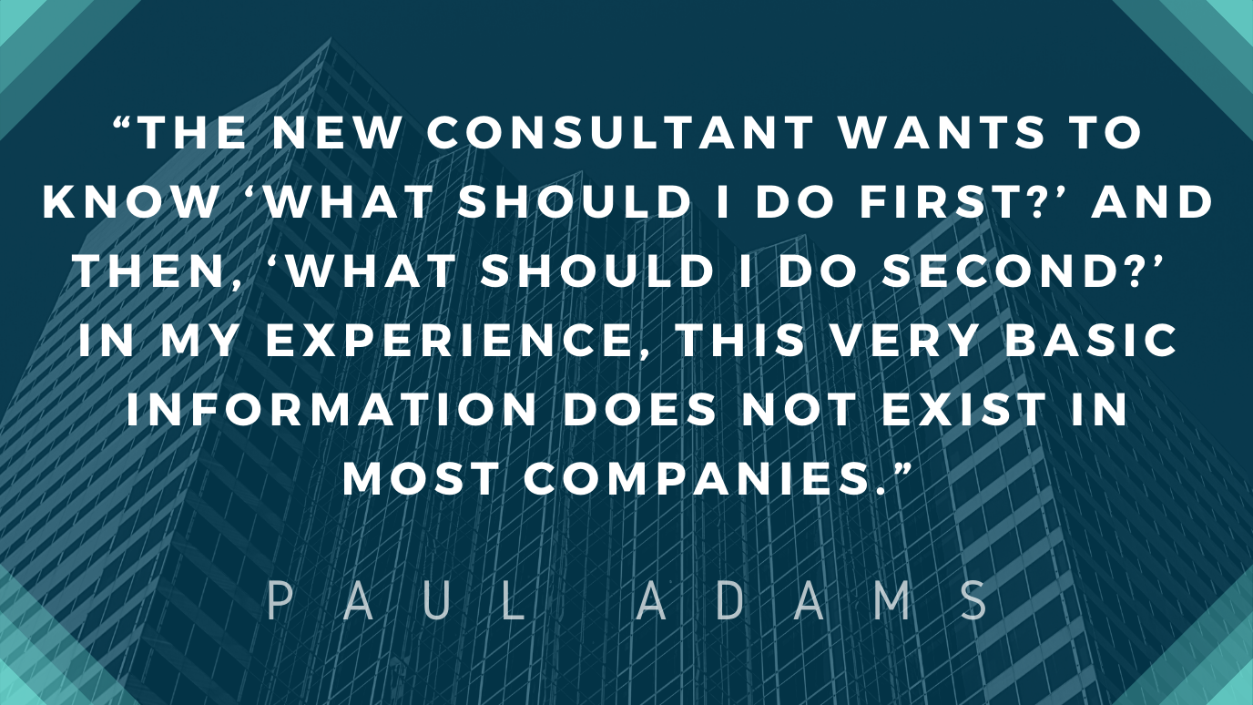 """Quote by Paul Adams imposed over high-rise buildings.  The quote says, """"The new consultant wants to know 'what should I do first?' and then, 'what should I do second?' In my experience, this very basic information does not exist in most companies."""""""
