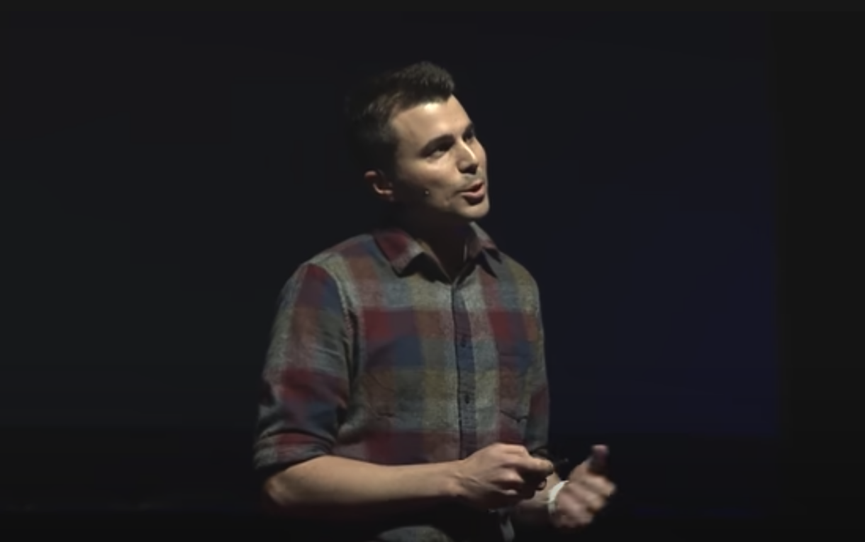 banner of mark rober giving a ted talks lecture