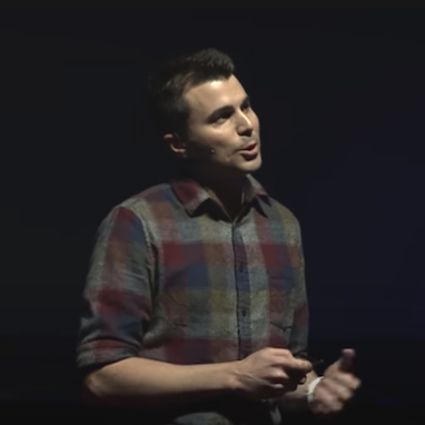 thumbnail of mark rober giving a ted talks lecture