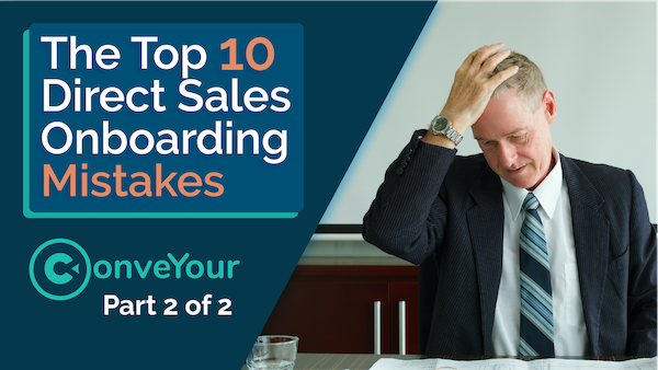 banner of onboarding mistakes video with a frustrated sales manager who realized he made an onboarding mistake