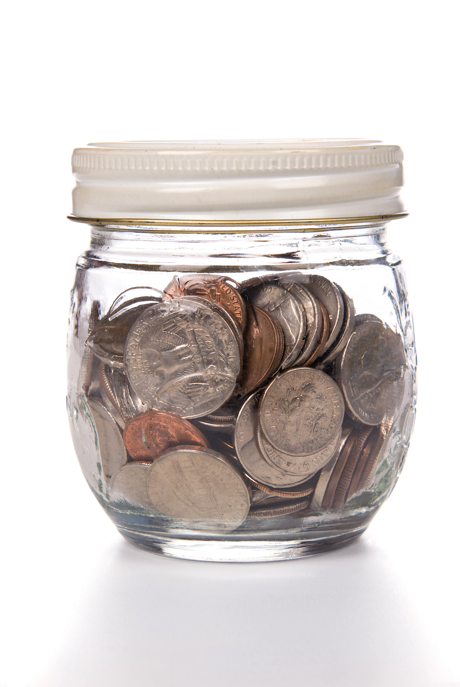a jar full of american coins