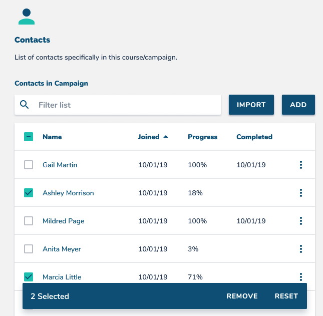 Add and remove learners from your course and view their progress and completed lessons