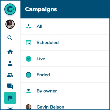 image of the new campaign design listing the scheduled, live, and ended campaigns