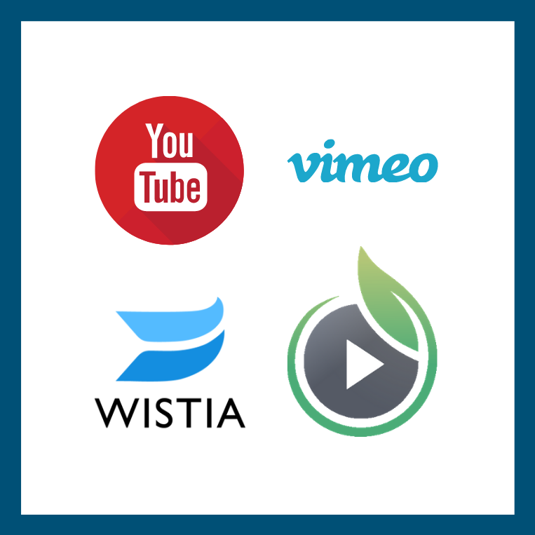 youtube, vimeo, wistia, and sprout video icons; these are platforms ConveYour supports
