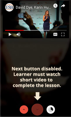 next button disabled until video is watched in a conveyour portal