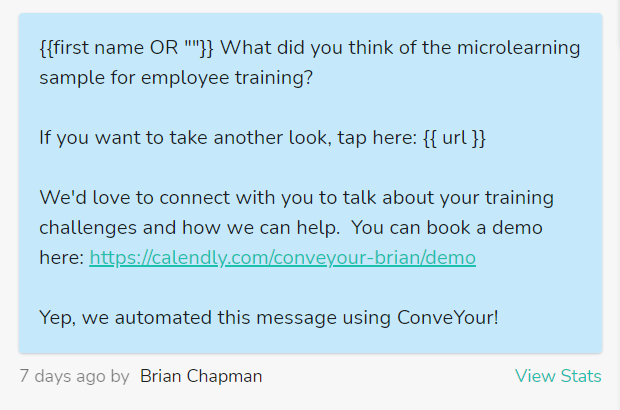 text based referral follow up window in ConveYour