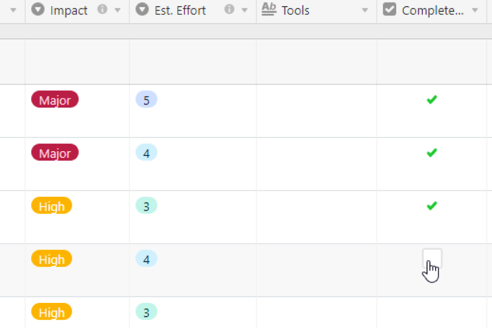 A screenshot of Nookly via Airtable, highlighting the 'Completed' column.