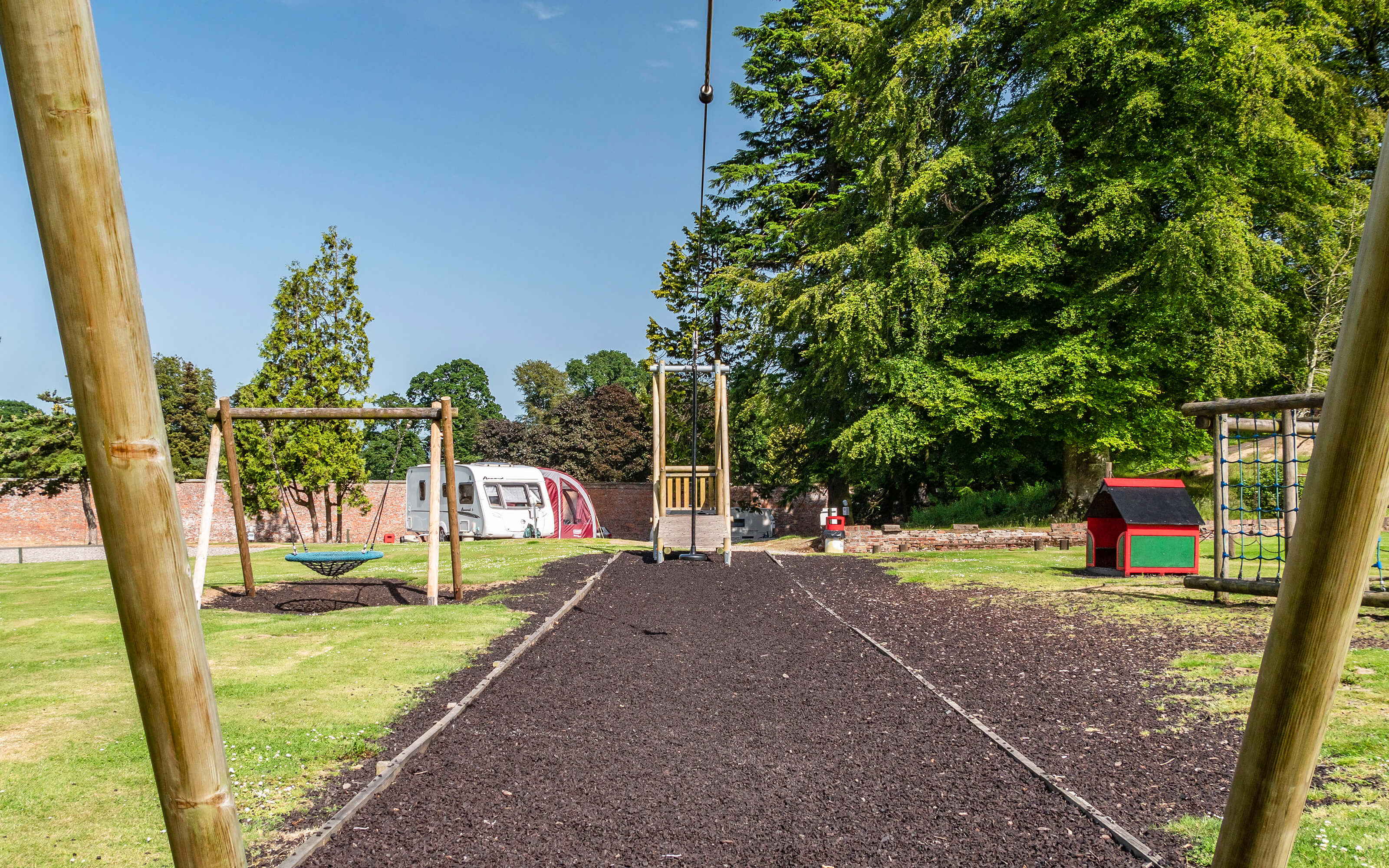 A view of the zip wire in the children's play area.