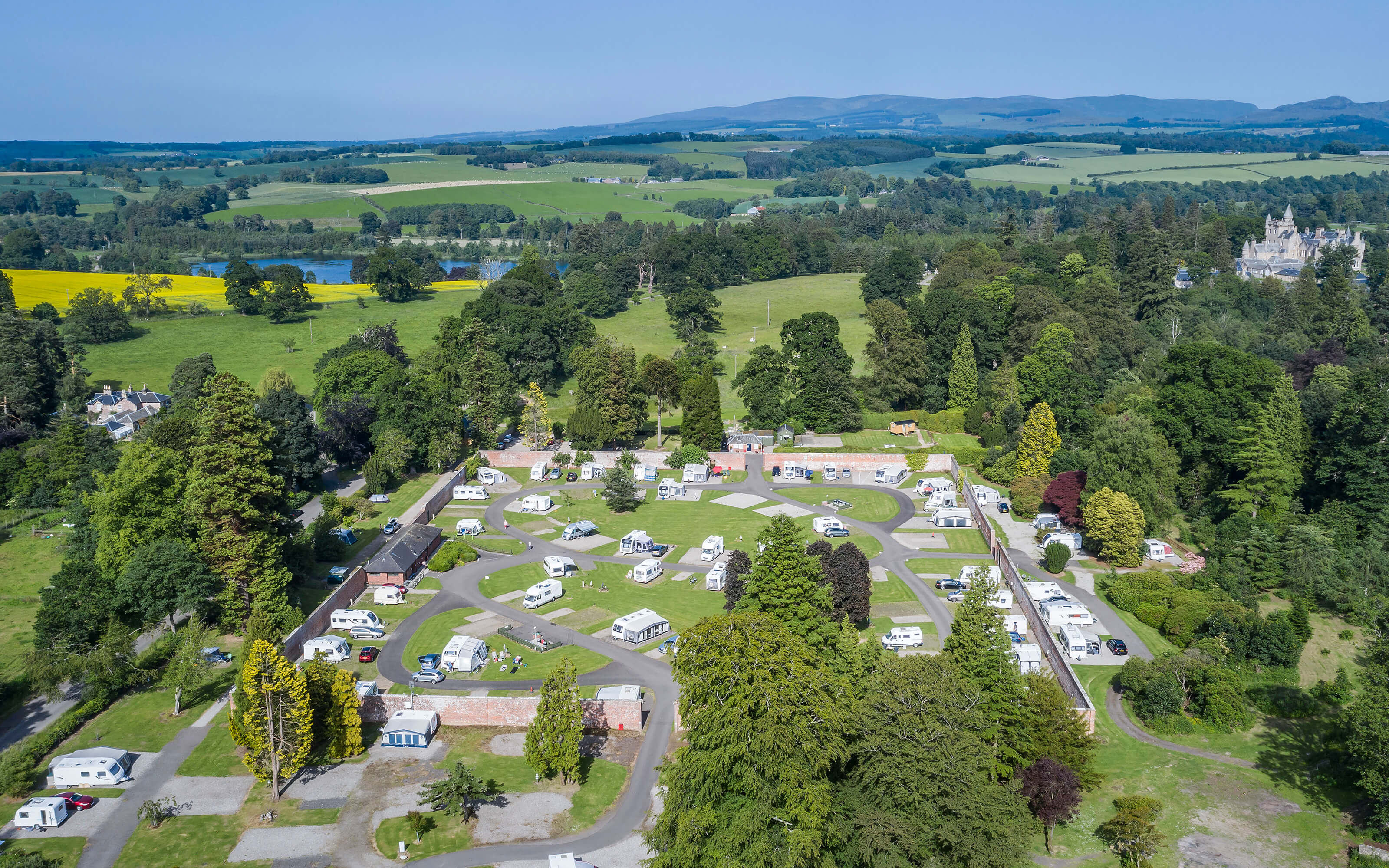 An aerial photograph of the whole caravan park site.