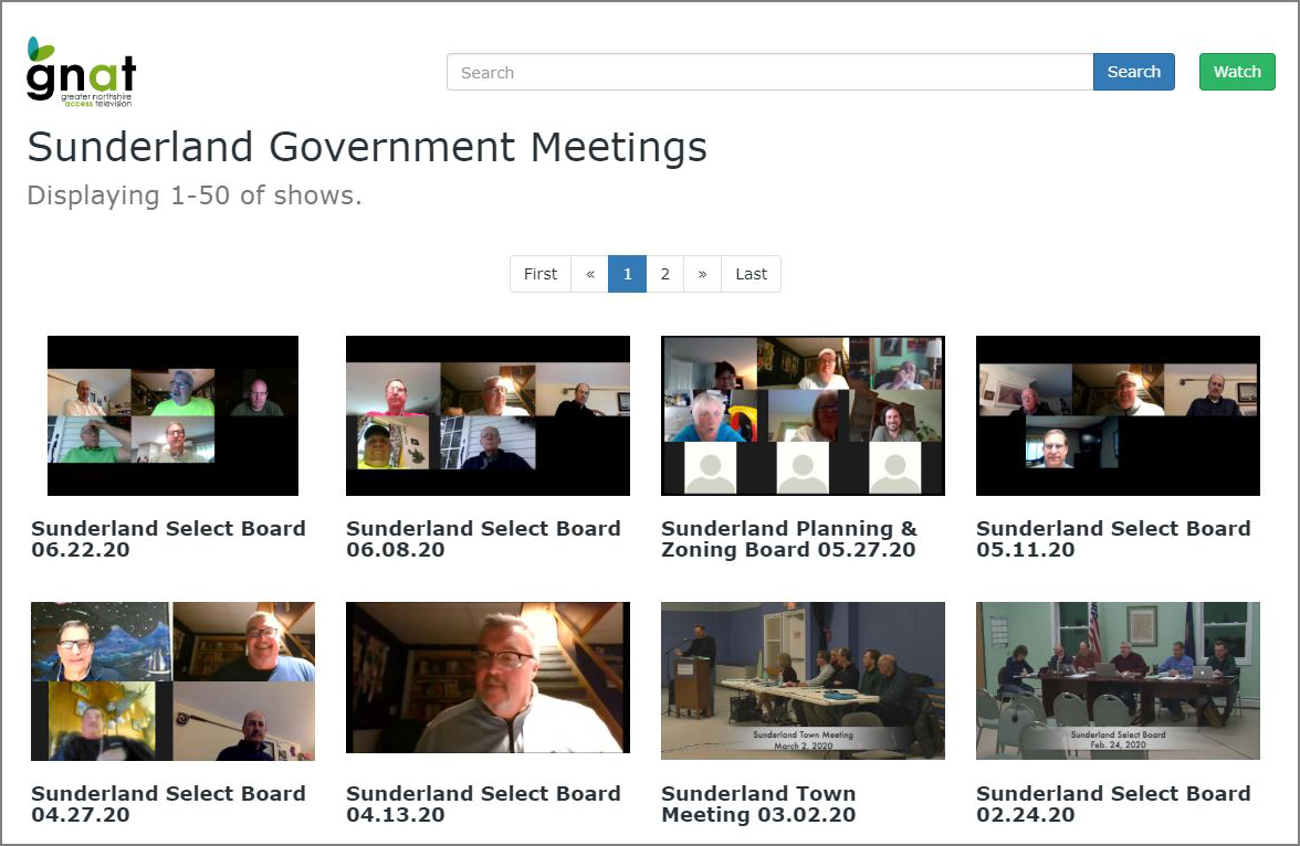 GNAT-TV Video on Demand webpage showing Sunderland Government Meetings.