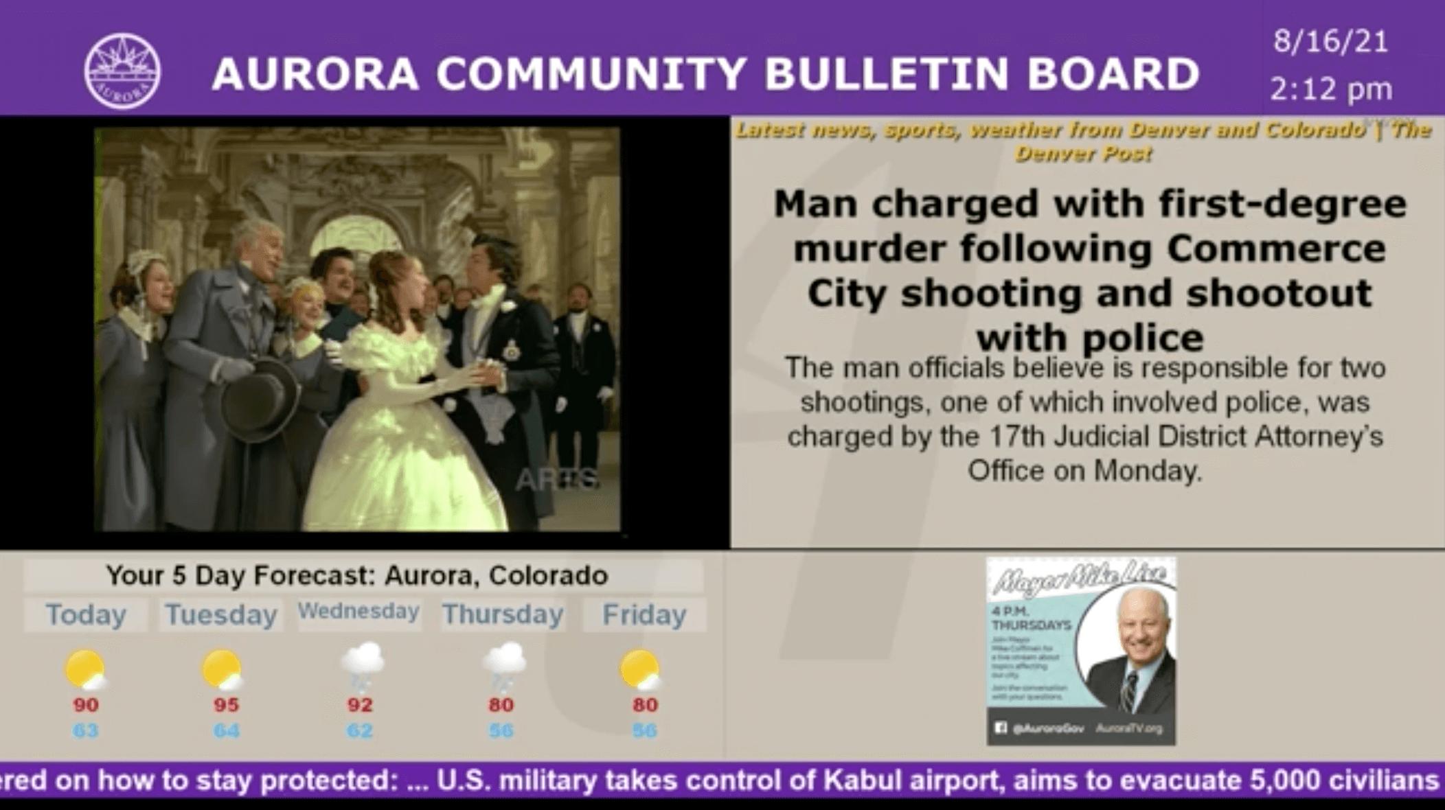 Screen shot of Aurora TV Cablecast CG Bulletin Board