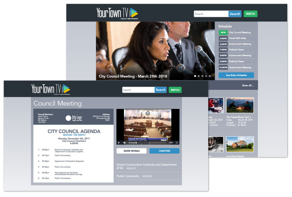 Municipal meeting on demand video portal with program schedule and meeting agenda