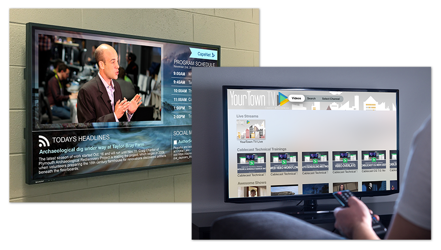Digital signage bulletin board screen mounted on a wall and a person holding a remote and an Apple TV on demand video app menu open on a tv