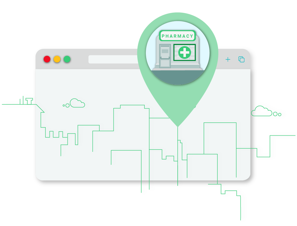 Illustration of desktop with pharmacy finder icon