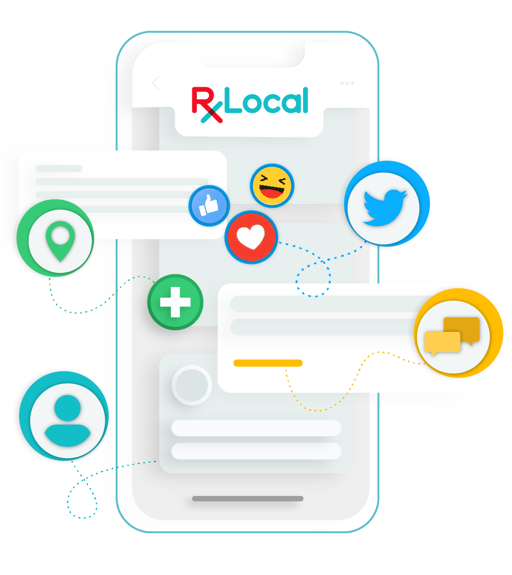 Illustration of all RxLocal features floating in front of phone