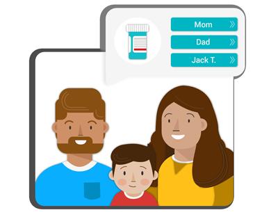 Illustration of family smiling