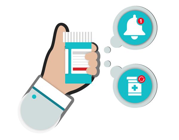 Illustration of hand holding pill bottle