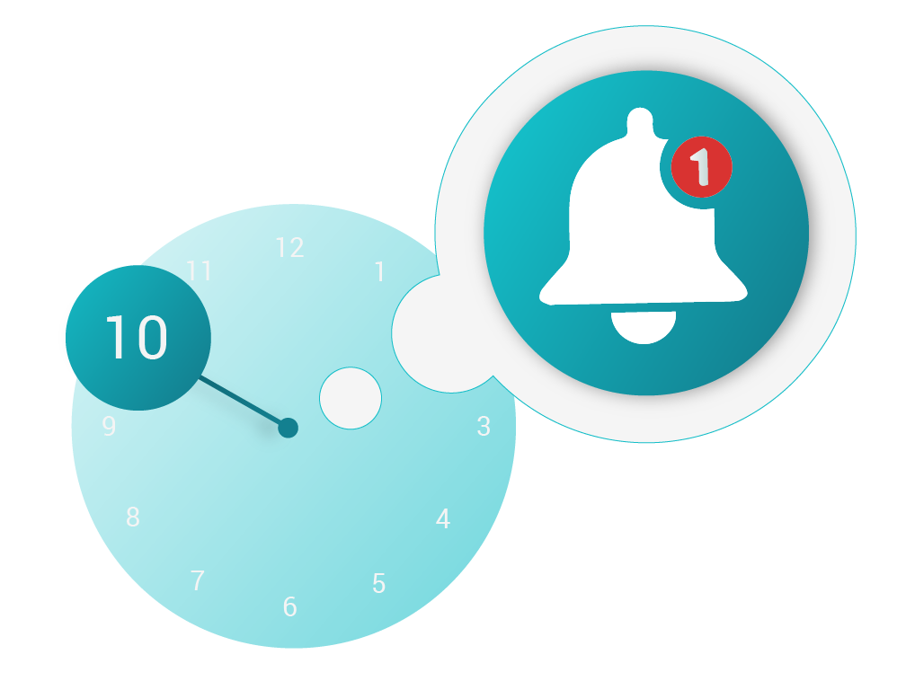 Illustration of a clock and a bell representing setting up reminders on RxLocal.