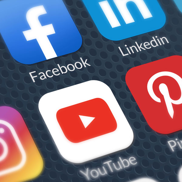Common social media platform apps on a mobile home page