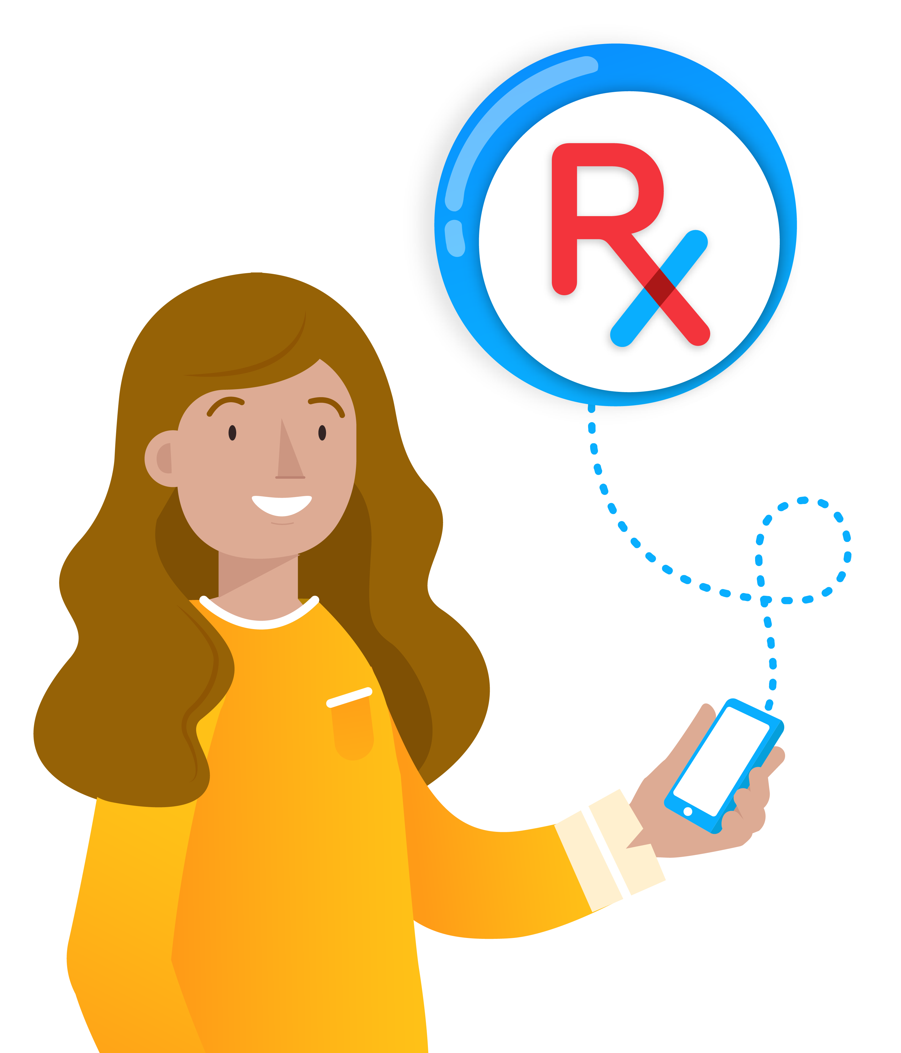 female patient smiling and holding phone using rxlocal