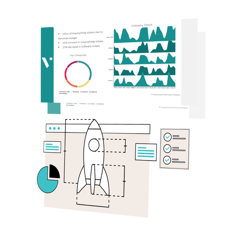 Isomorphic view of dashboards and a mockup of a rocket.