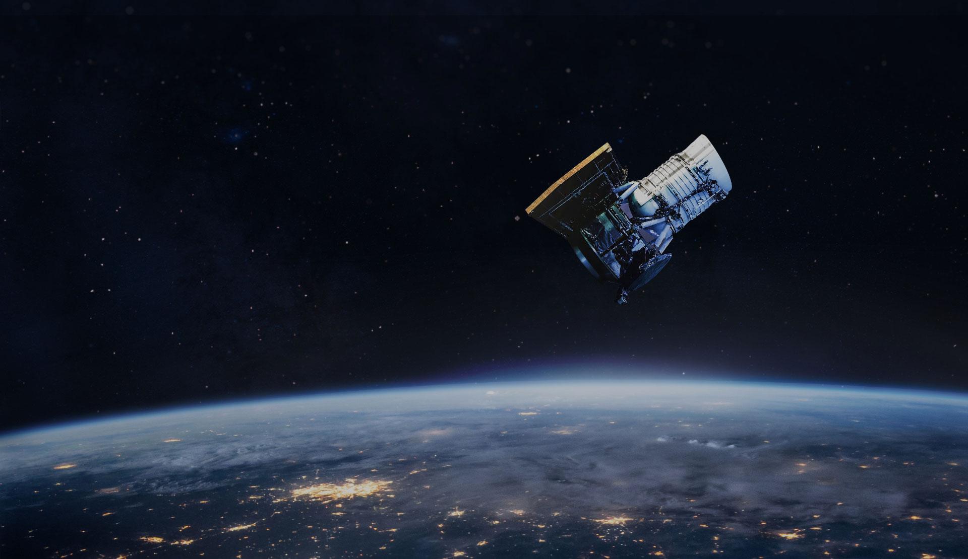 Sattelite orbiting earth homepage
