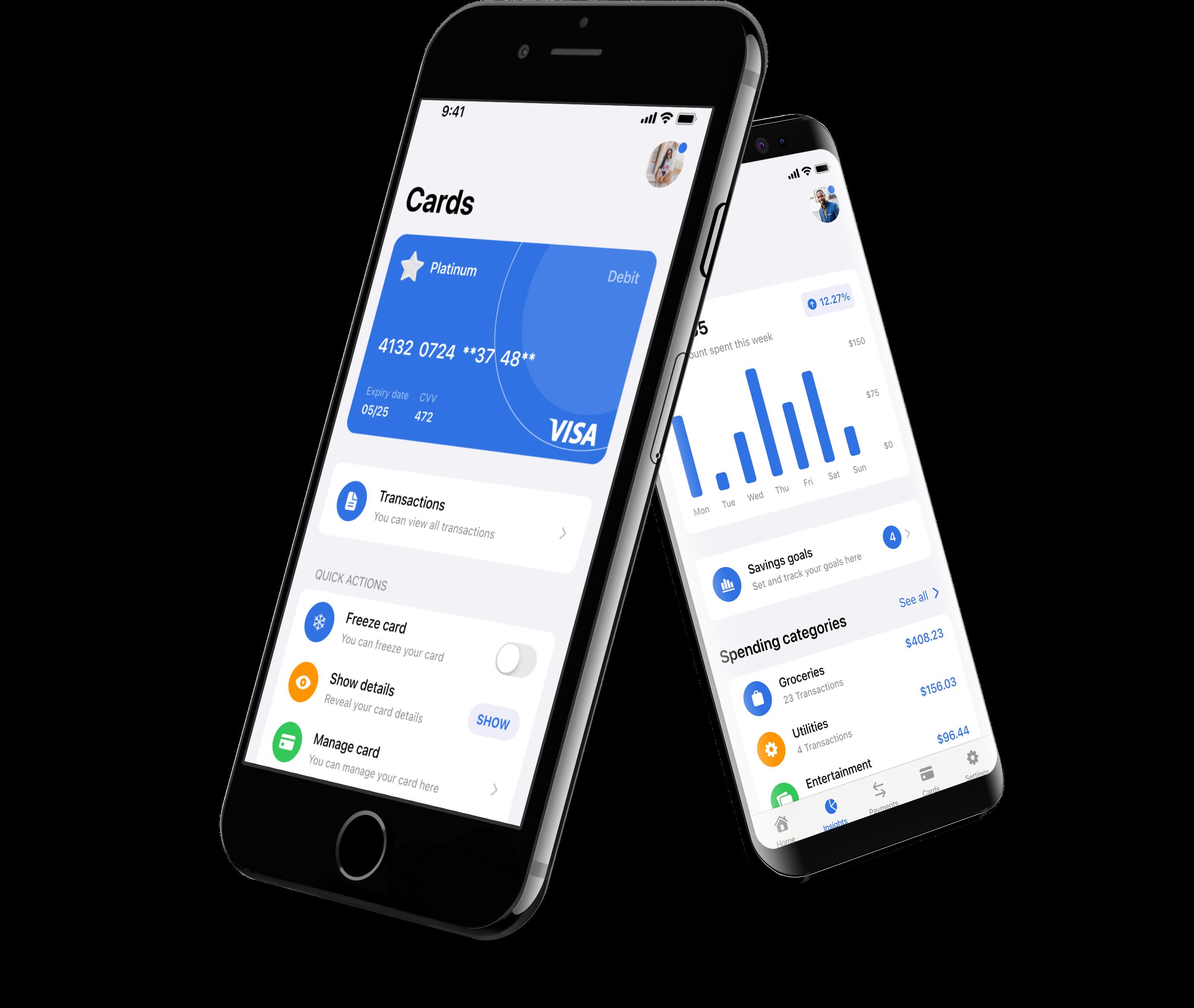 Mockup image of arrow bank on two smartphones.