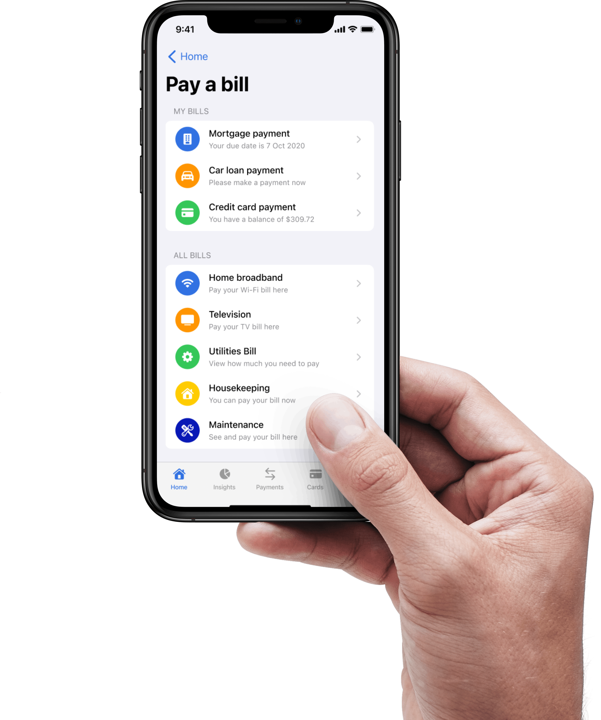 Arrow bank bill pay on mobile phone in a users hand