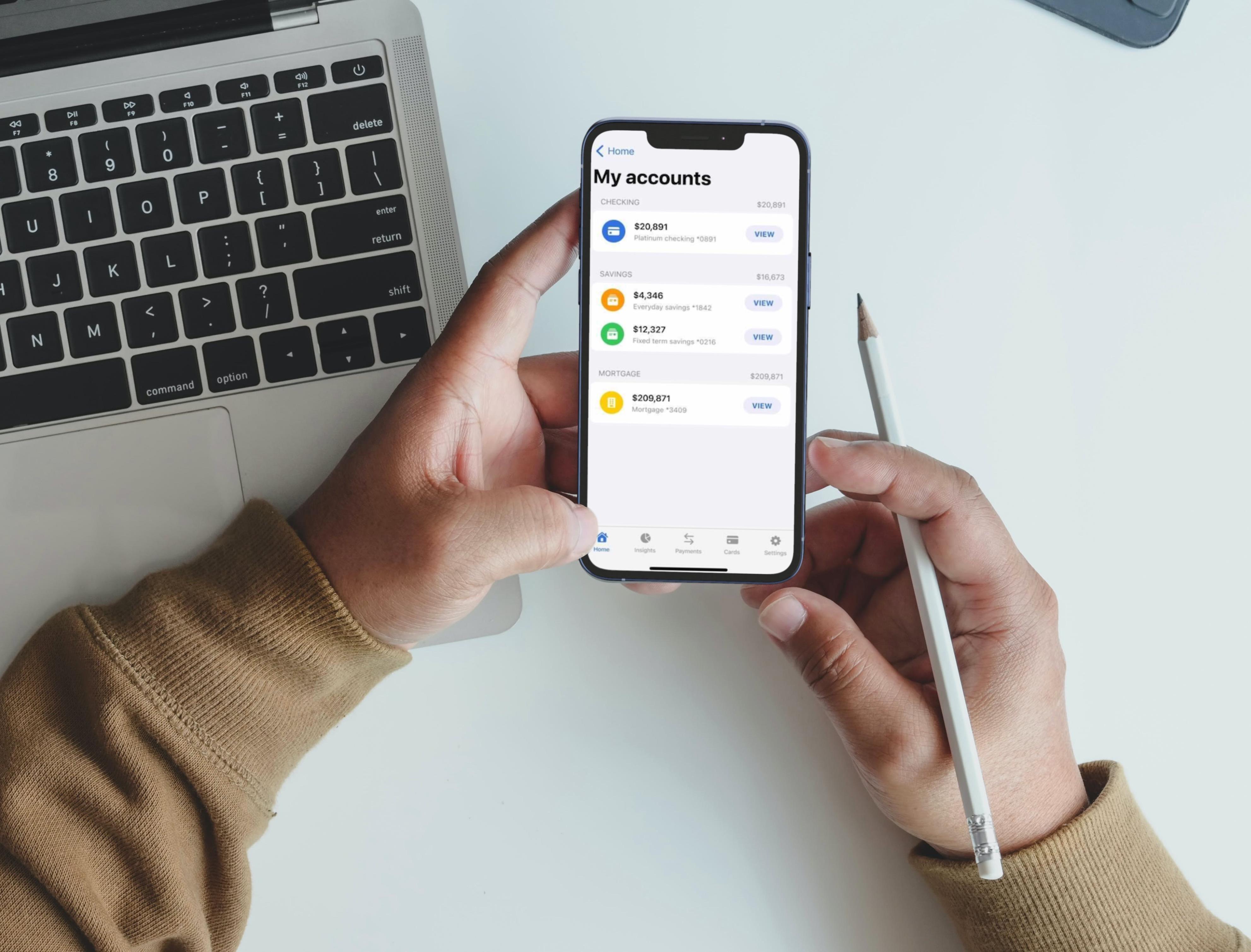 Arrow bank my accounts screen on smartphone