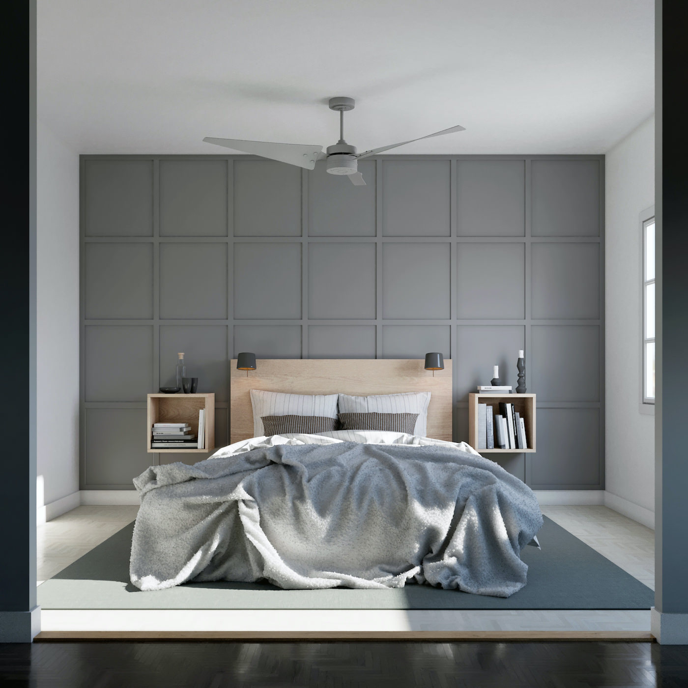 Outfit's accent wall in Grid, Grey, Medium