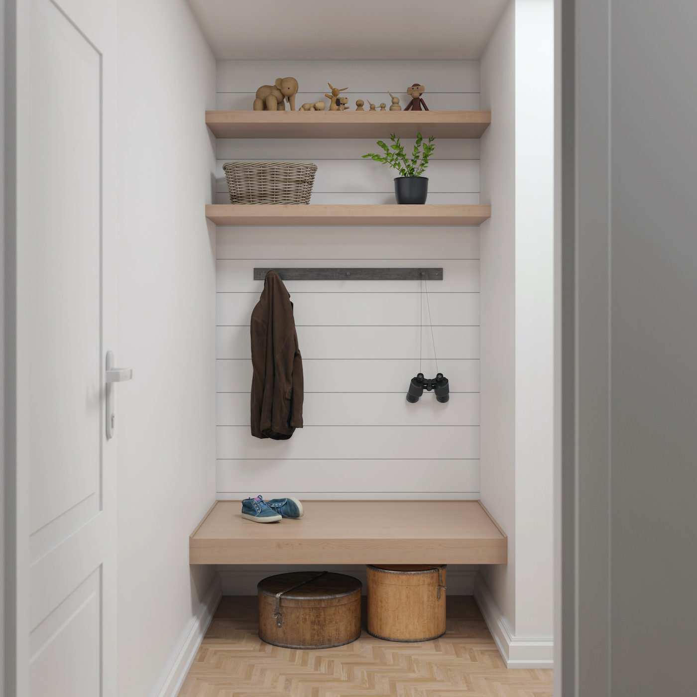 Outfit's accent wall in ship lap, white, extra small